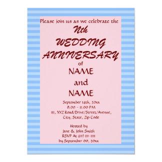 Wedding Anniversary - Blue Stripes,Pink Background 14 Cm X 19 Cm Invitation Card
