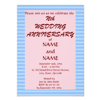 "Wedding Anniversary - Blue Stripes,Pink Background 5.5"" X 7.5"" Invitation Card"