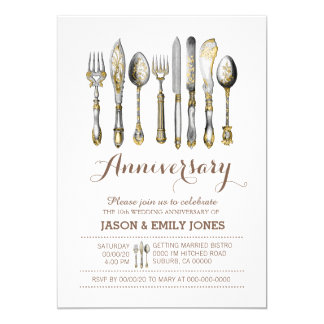 Wedding anniversary celebration dinner card