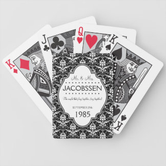 Wedding Anniversary Custom Black and White Poker Deck