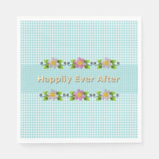 Wedding_Anniversary_Floral_Fairy-tale_Blue-Gingham Paper Serviettes