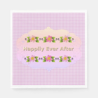 Wedding_Anniversary_Floral_Fairy-tale_Pink-Gingham Paper Napkin
