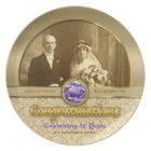 Wedding Anniversary Gold Amethyst Gemstone Damask Plate