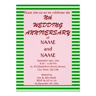 Wedding Anniversary-Green Stripes, Pink Background Personalized Invitations