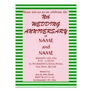 Wedding Anniversary-Green Stripes, Pink Background 14 Cm X 19 Cm Invitation Card