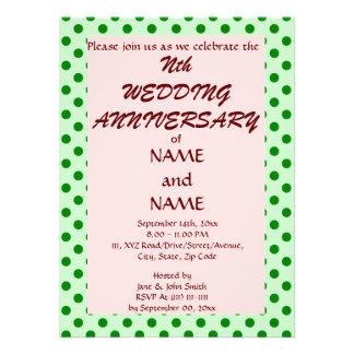 Wedding Anniversary-GreenPolkaDots,PinkBackground Personalized Invites
