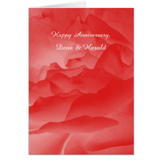 Wedding Anniversary Greeting Card Coral Pink Rose