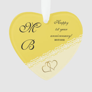 Wedding anniversary keepsake ornament