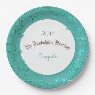 WEDDING-ANNIVERSARY-LUSH-GREEN-SHIMMER--TEMPLATE 9 INCH PAPER PLATE
