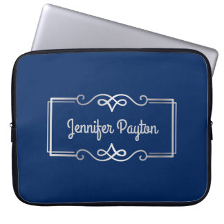 Wedding Anniversary Monogram Silver Navy Blue Laptop Sleeve