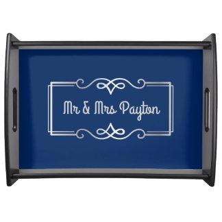 Wedding Anniversary Monogram Silver Navy Blue Serving Tray