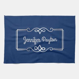 Wedding Anniversary Monogram Silver Navy Blue Tea Towel