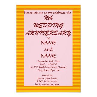 Wedding Anniversary-OrangeStripes,PinkBackground 5.5x7.5 Paper Invitation Card