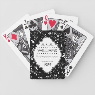 Wedding Anniversary Personalized Black and White Bicycle Poker Cards