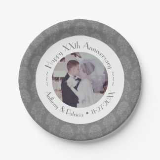 Wedding Anniversary Photo Personalized /pick color 7 Inch Paper Plate