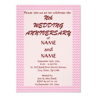 Wedding Anniversary - Pink Zigzag, Pink Background 14 Cm X 19 Cm Invitation Card