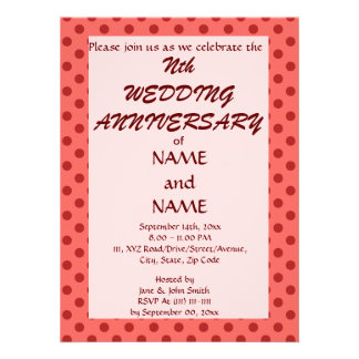 Wedding Anniversary-Red Polka Dots Pink Background Personalized Invite