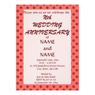 Wedding Anniversary-Red Polka Dots,Pink Background Personalized Invite