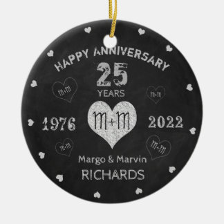 Wedding Anniversary Rustic Vintage Round Ceramic Decoration