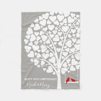 Wedding Anniversary Tree With birds Fleece Blanket