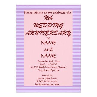 Wedding Anniversary-VioletStripes PinkBackground Personalized Invite