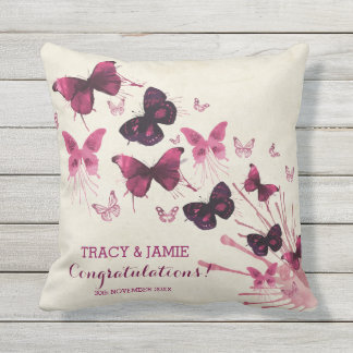 Wedding Anniversary Watercolor Pink Butterflies Outdoor Cushion