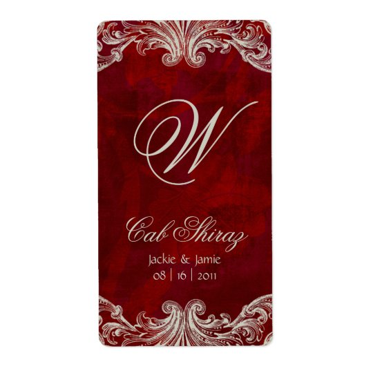 Wedding Anniversary Wine Label Antique Roses Red Shipping Label