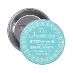Wedding Anniversary with Teal Blue Background 6 Cm Round Badge