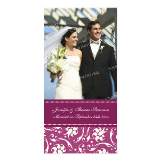 Wedding Announcement Photo Card Cream and Pink