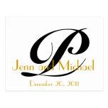 Wedding Announcement Postcard Art Deco Gold Black