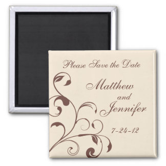 Wedding Announcement Save the Date Magnet - Square Refrigerator Magnets