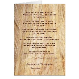 Wedding Apache Blessing Feel No Rain Brown Stone Card