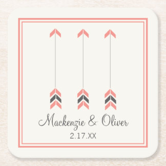 Wedding Arrows Square Paper Coaster