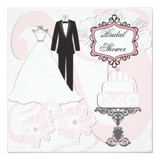"""Wedding Attire Bridal Shower Invitation 5.25"""" Square Invitation Card"""