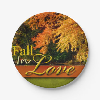 Wedding Autumn Scenic Fall In Love Foliage Photo 7 Inch Paper Plate