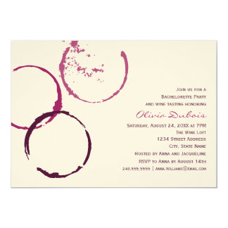 Wedding Bachelorette Party | Red Wine Theme 13 Cm X 18 Cm Invitation Card