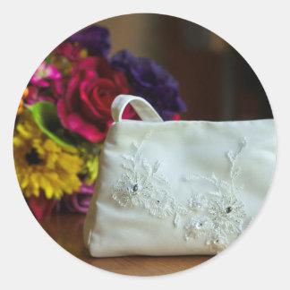 Wedding Bag & Bouquet Round Sticker