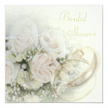 Wedding Bands, Roses, Doves & Lace Bridal Shower 13 Cm X 13 Cm Square Invitation Card
