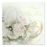 Wedding Bands, Roses, Doves & Lace Save The Date 13 Cm X 13 Cm Square Invitation Card