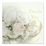 Wedding Bands, Roses, Doves & Lace Thank You 13 Cm X 13 Cm Square Invitation Card