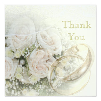 Wedding Bands, Roses, Doves & Lace Thank You Card