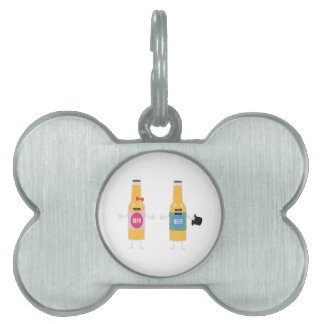 Wedding Beerbottle couple Zn4bx Pet Name Tag