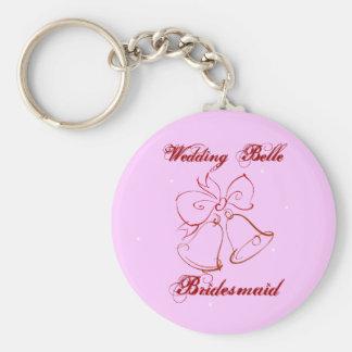 Wedding Belle Bridesmaid Basic Round Button Key Ring