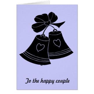 Wedding bells, blue greeting card