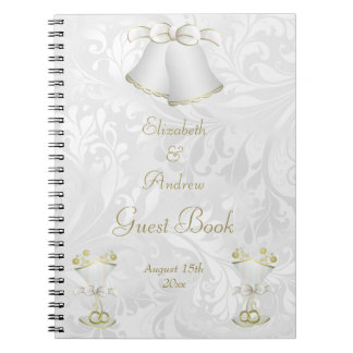 Wedding Bells & Champagne Flutes Guest Book Notebooks