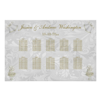 Wedding Bells & Champagne Flutes Seating Chart Poster