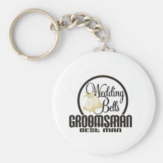 Wedding Bells Groomsman Best Man Basic Round Button Key Ring