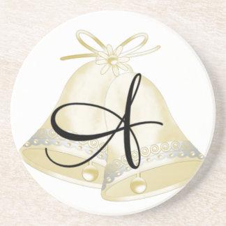 Wedding Bells Monogram A Coaster
