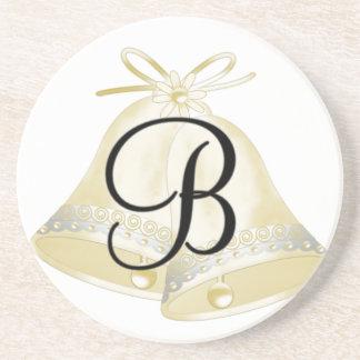 Wedding Bells Monogram B Drink Coaster