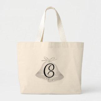 Wedding Bells Monogrammed Tote Bags